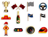Cartoon f1 car racing icon set — Stock Vector