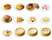 Cartoon chinese food icon set — Stock Vector