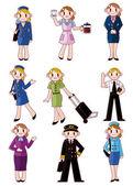 Cartoon flight attendant pilot icon — Stock Vector