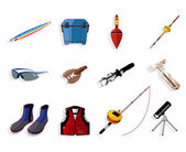 Cartoon fishing equipment tools icon set ,vector — Stock Vector