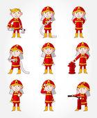 Cartoon Fireman icon set — Stock Vector