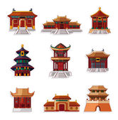 Cartoon Chinese house icon set — Vecteur
