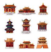 Jeu d'icônes cartoon maison chinoise — Vecteur