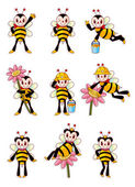 Cute bee icons set — Stock Vector