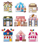 Cartoon house shop icons collection — Stok Vektör
