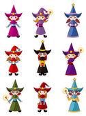 Cartoon Wizard icon set — Stock Vector