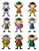 Cartoon Viking Pirate icon set — Stock Vector