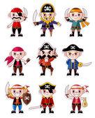Cartoon pirate icon set — Stock Vector
