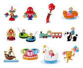 Cartoon Playground Equipment icons set — Stock Vector