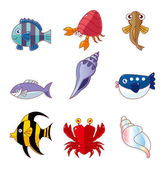Cartoon fish icons — Stock Vector
