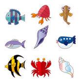 ícones de peixe dos desenhos animados — Vetor de Stock
