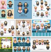 Cartoon Priest and nun card — Stock Vector