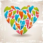 Retro love heart — ストックベクタ
