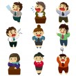 Stock Vector: Unhappy office worker set