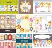 Cartoon animal card — Stock Vector