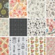 Set of different flowers seamless pattern - Stok Vektr