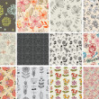 Set of different flowers seamless pattern - Векторная иллюстрация