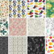 Set of different flowers seamless pattern — Stockvectorbeeld