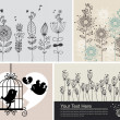 Background with birds and flowers - Image vectorielle