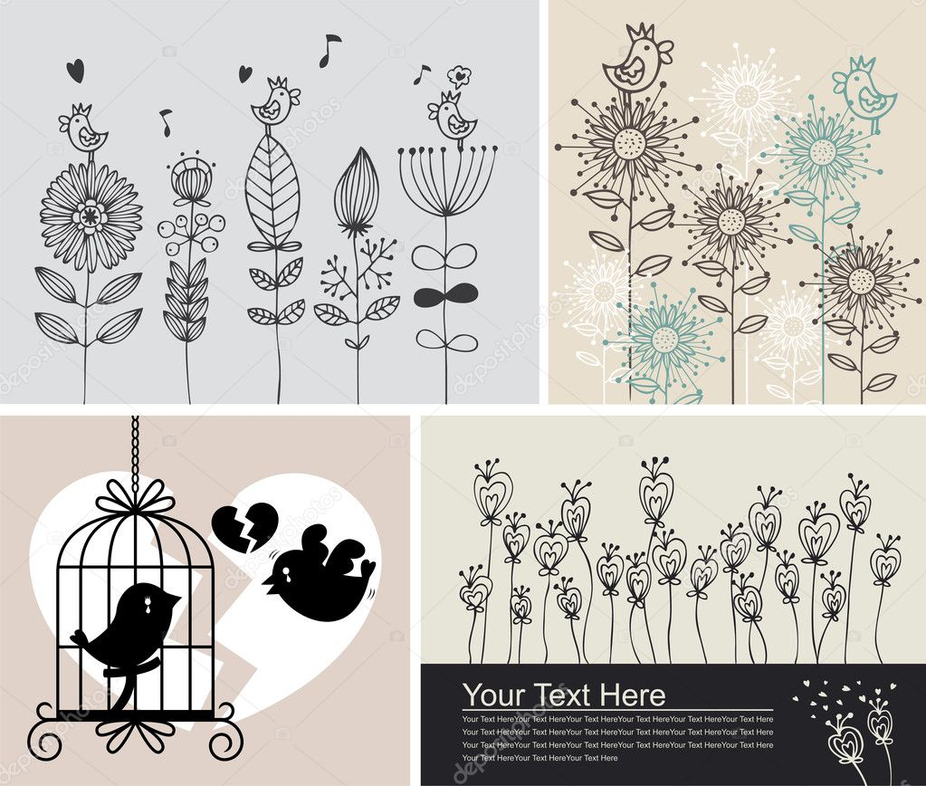 Background with birds and flowers — Stock Vector #8765141