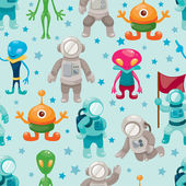 Spaceman and ufo seamless pattern — Stock Vector