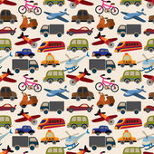 Seamless transport pattern — Stok Vektör