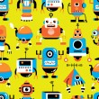 Stock Vector: Seamless robot pattern
