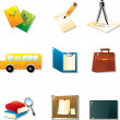 School And Education Icon Set — Stock Vector