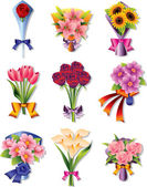 Flower bouquet icons — Stock Vector