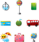 Illustration of vacation and travel icons — Stock Vector