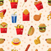 Seamless fast food pattern — Stock Vector