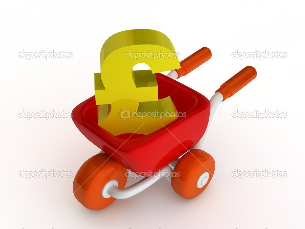 Shopping cart with euro sign on white background — Stock Photo #9110502
