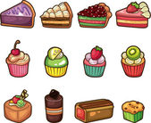 Cartoon cake icons set — Stock Vector