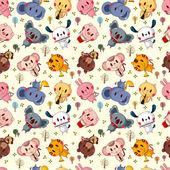 Animal play music seamless pattern — Stock Vector