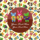 Animal play music card — Stock Vector