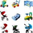 Set of baby carriage - Stock Vector