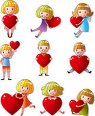 Set of kid hug heart — Stock Vector
