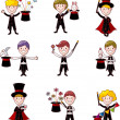 Set of Cartoon magician — Stock Vector #9262753