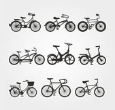 Bisiklet vector silhouettes kümesi — Stok Vektör