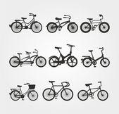 Jeu des silhouettes de vecteur de bicyclette — Vecteur