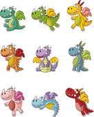 Conjunto de ícones de dragão de fogo gorda dos desenhos animados — Vetorial Stock