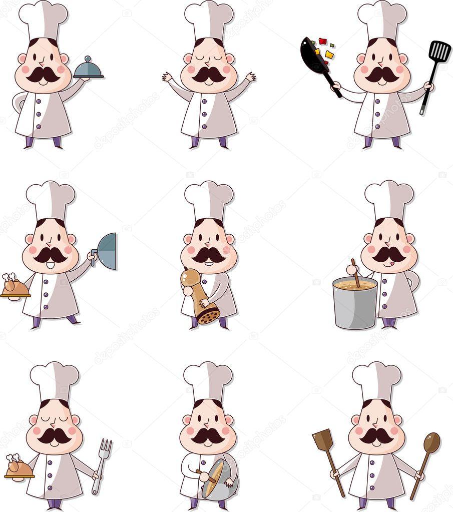 Icono de cocinero de dibujos animados — Vector de stock © mocoo2003