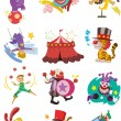 Cartoon happy circus show icons collection — Stock Vector #9382701
