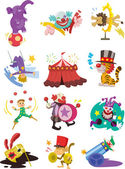 Cartoon happy circus show icons collection — Stock Vector