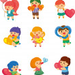 Stock Vector: Set of kid hug heart