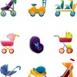 Stock Vector: Set of baby carriage