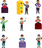 Set of Cartoon magician — Stock Vector