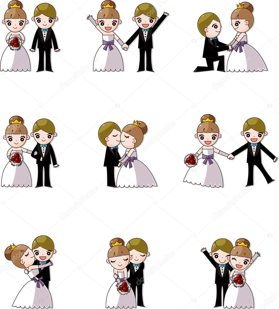 Set of wedding ,Bridegroom and Bride — Imagen vectorial #9461985