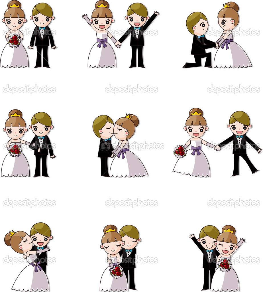 Set of wedding ,Bridegroom and Bride — Image vectorielle #9461985