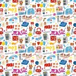 Cute music icon seamless pattern — Stock Vector